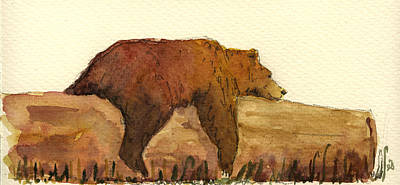 Signed Painting - Grizzly Bear by Juan  Bosco