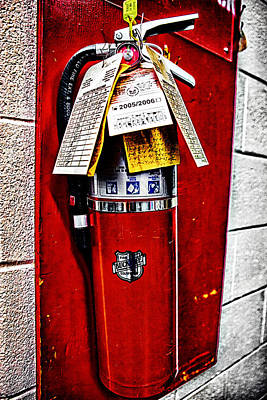Photograph - Grungy Fire Extinguisher by Sennie Pierson