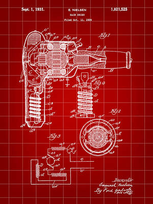 Trimming Digital Art - Hair Dryer Patent 1929 - Red by Stephen Younts