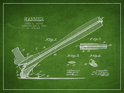 Hammer Patent Drawing From 1901 Art Print