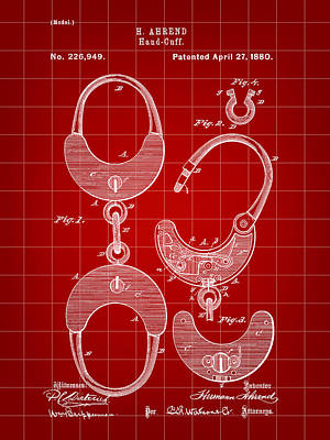 Handcuffs Digital Art - Handcuffs Patent 1880 - Red by Stephen Younts