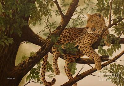 Leopard Painting - Hanging Around by Gilles Delage