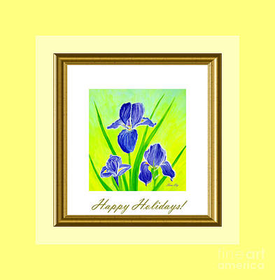 Painting - Happy Holidays. Beautiful Iris Flowers by Oksana Semenchenko