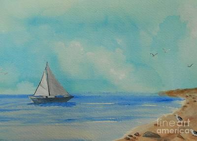 Wells Beach Painting - He Leads Me Beside The Still Waters by Barbara McNeil
