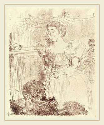 Hand Made Drawing - Henri De Toulouse-lautrec French, 1864-1901 by Litz Collection