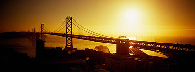 Bay Bridge Photograph - High Angle View Of A Suspension Bridge by Panoramic Images
