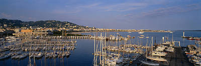 Cote Dazur Photograph - High Angle View Of Boats Docked by Panoramic Images