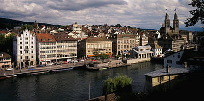 Limmat Photograph - High Angle View Of Buildings by Panoramic Images