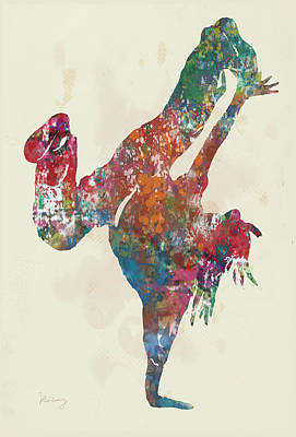 Street Drawing - Hip Hop Street Dancing  Pop Stylised Art Poster by Kim Wang