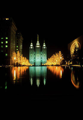 Salt Lake City Temple Photograph - Historic Temple And Square In Salt Lake by Panoramic Images