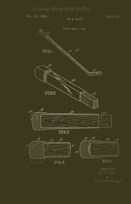 Drawing - Hockey Stick End Buffer Patent 1928 by Mountain Dreams