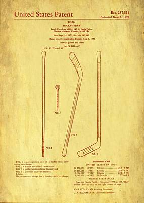 Drawing - Hockey Stick Patent 1975 by Mountain Dreams