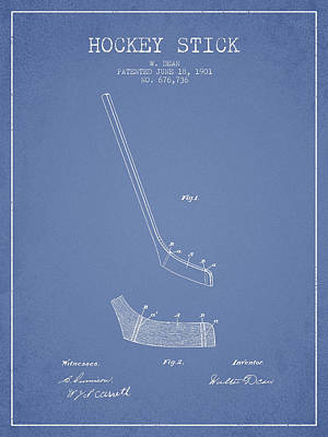 Sports Royalty-Free and Rights-Managed Images - Hockey Stick Patent Drawing From 1901 by Aged Pixel