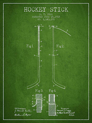 Hockey Stick Patent Drawing From 1915 Art Print