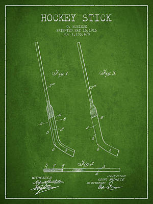Sports Royalty-Free and Rights-Managed Images - Hockey Stick Patent Drawing From 1916 by Aged Pixel