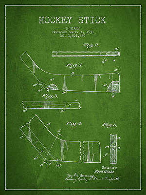 Sports Royalty-Free and Rights-Managed Images - Hockey Stick Patent Drawing From 1931 by Aged Pixel