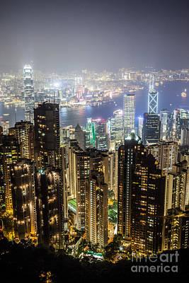 Hong Kong Photograph - Hong Kong Harbor From Victoria Peak At Night by Matteo Colombo