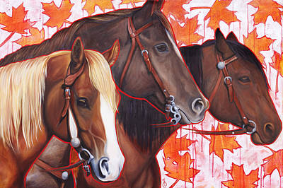 Maple Season Painting - 3 Horses by Emma Caldwell