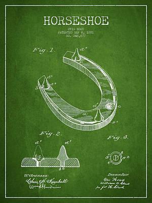 Horseshoe Patent Drawing From 1881 Art Print