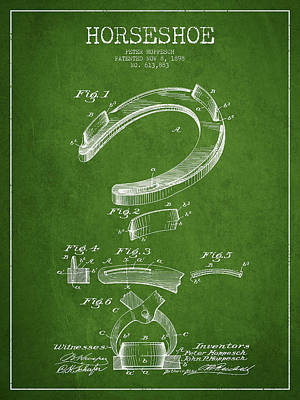 Horseshoe Patent Drawing From 1898 Print by Aged Pixel