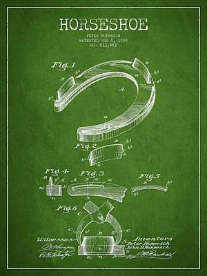 Horseshoe Patent Drawing From 1898 Art Print