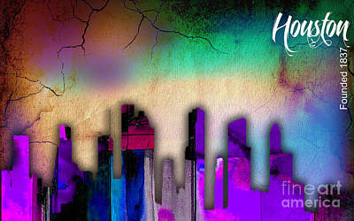 Houston Texas Skyline Watercolor Art Print by Marvin Blaine