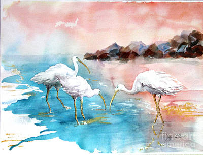 Ibis On The Beach Art Print by Joyce Allen