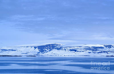 Iceland Winter Landscape Of Beautiful Mountains Covered In Snow  Art Print
