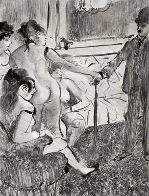 Selecting Drawing - Illustration From La Maison Tellier By Guy De Maupassant by Edgar Degas