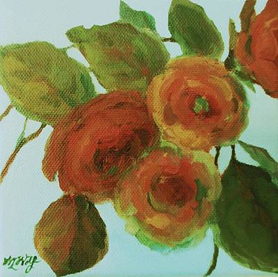 Tangerine Painting - Impressionist Floral Painting by Mary Wolf