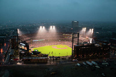 Photograph - In A Night Game And A Light Rain Mist by Panoramic Images