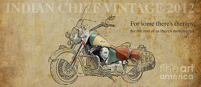 Motorcycle Mixed Media - Indian Chief Vintage 2012 by Pablo Franchi