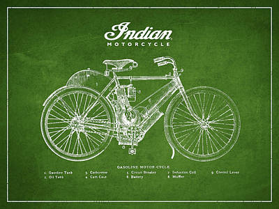 Indian Motorcycle Art Print by Aged Pixel