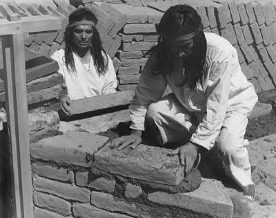 Brick Building Photograph - Indians Building Missions by Underwood Archives Onia