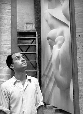 Famous Sculptor Photograph - Isamu Noguchi With Sculpture by Underwood Archives