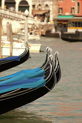 Italy, Venice Gondolas Along The Grand Art Print