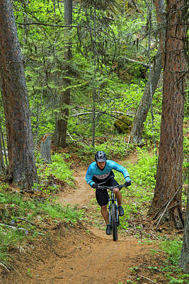 Bicycle Photograph - Jared Lynch Mountain Biking The North by Chuck Haney