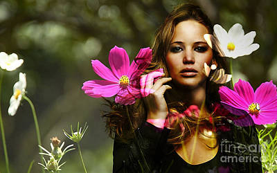 Flower Mixed Media - Jennifer Lawrence by Marvin Blaine