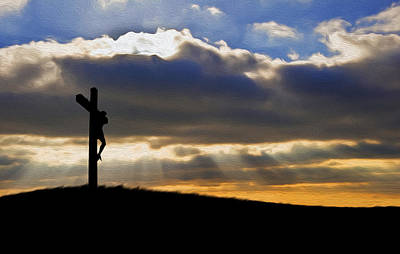 Jesus Christ Crucifixion On Good Friday Silhouette Art Print by Matthew Gibson