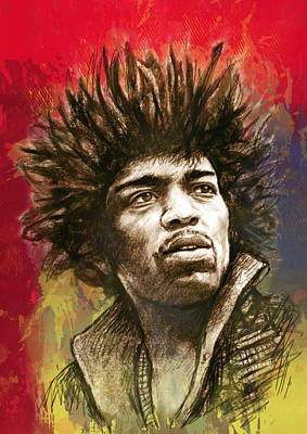 Jimi Hendrix Stylised Pop Art Drawing Potrait Poster Art Print
