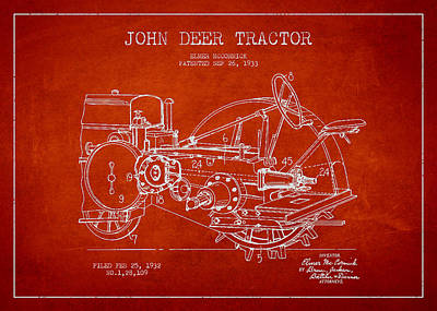 John Deer Tractor Patent Drawing From 1933 Art Print by Aged Pixel