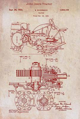 Tractor Drawing - John Deere Tractor Patent 1933 by Mountain Dreams
