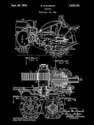 Heavy Equipment Digital Art - John Deere Tractor Patent 1932 - Black by Stephen Younts