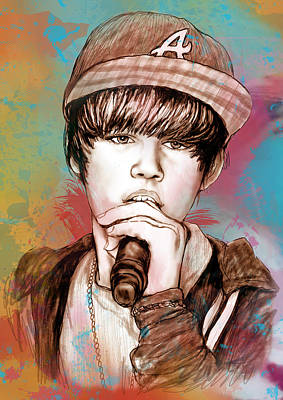 Justin Bieber Art Drawing Sketch Portrait Drawing - Justin Bieber - Stylised Drawing Art Poster by Kim Wang