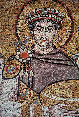 Mosaic Portrait Painting - Justinian I (483-565) by Granger