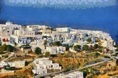 Painting - Kastro Village In Sifnos Island by George Atsametakis