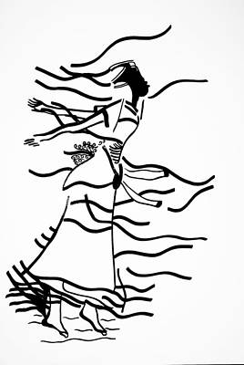 Drawing - Kiganda Dance - Uganda by Gloria Ssali