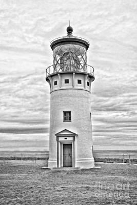 White Topaz Photograph - Kilauea Lighthouse -surreal Bw by Scott Pellegrin
