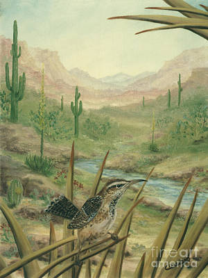 Mountains Painting - King Of The Cactus by Cathy Cleveland