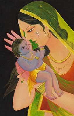 Mixed Media - Krishna Mom by Prakash Leuva